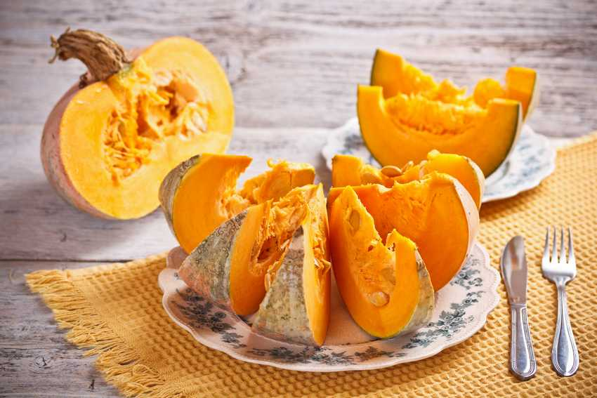 Fresh orange tasty slices of pumpkin